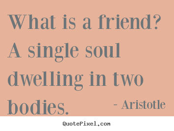 Friendship quotes - What is a friend? a single soul dwelling in two bodies.